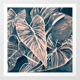 Pop Anthurium Leafs and Flowers Art Print
