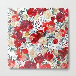 Red teal hand painted boho watercolor roses floral Metal Print