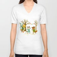 dancing V-neck T-shirts featuring Critters: Spring Dancing by Teagan White