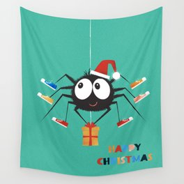 Happy Christmas Santa Spider Wall Tapestry