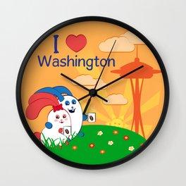 Ernest and Coraline | I love Washington Wall Clock