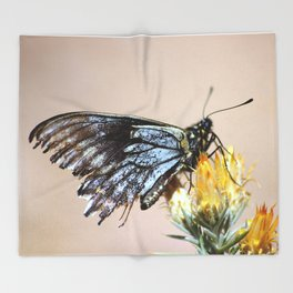 Butterfly with torn wings Throw Blanket