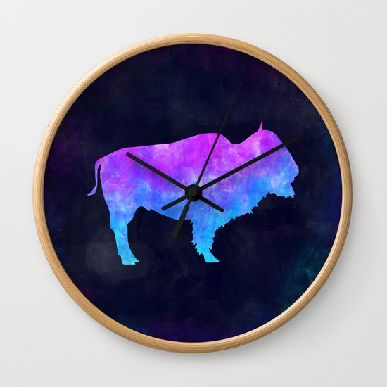 BUFFALO IN SPACE // Animal Graphic Art // Watercolor Canvas Painting // Modern Minimal Cute by misomiso