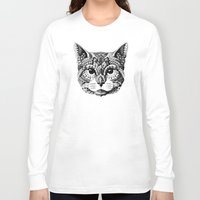 mythology Long Sleeve T-shirts featuring Cat Head by BIOWORKZ