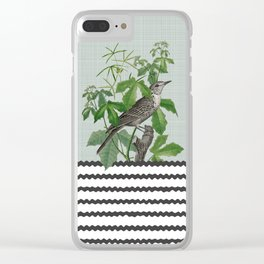 Botanical Bird with Leaves Digital Collage of Vintage Elements Clear iPhone Case
