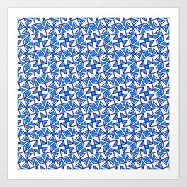 Sapphire Blue and White Pinwheel Pattern Diamond Design Triangles Southwestern Design Pattern Art Print