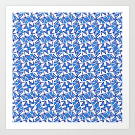 Sapphire Blue and White Pinwheel Pattern Diamond Design Triangles Southwestern Design Pattern Art Print