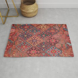 Rosette Diamond Stars II // 19th Century Colorful Red Black Dusty Blue Space Ornate Accent Pattern Rug