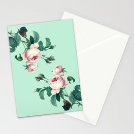 Roses Mint Green + Pink Stationery Cards