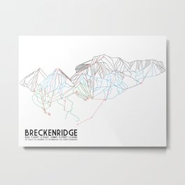 Breckenridge, CO - Minimalist Trail Map Metal Print