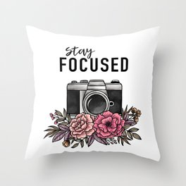 Stay Focused Camera Flowers Throw Pillow