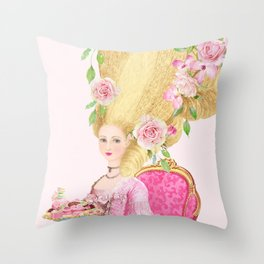 Marie Antoinette, High hair, tea party coiffure Throw Pillow