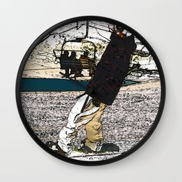 Sliding In - Snowboarder Fool Wall Clock