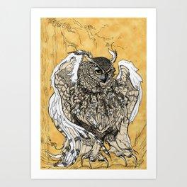 African Eagle Owl by MaxillaMellifer, aka Rosemary Knowles Art Print