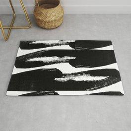 Modern Black Ink Brush Stroke Abstract Pattern Rug