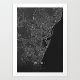 Recife, Brazil - Dark Map Art Print