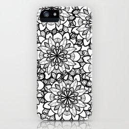Hand drawn black white floral illustration iPhone Case