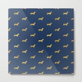 Navy/Gold Dachshund Pattern Metal Print