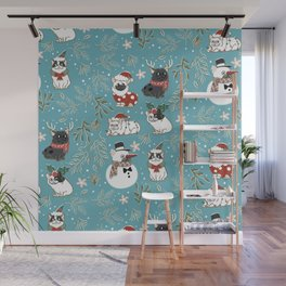 Christmas French Bulldog Wall Mural