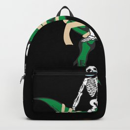 Skeleton Riding On T-Rex With Pumpkin Backpack