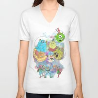 monsters inc V-neck T-shirts featuring Disney Pixar Play Parade - Monsters Inc Unit by Joey Noble