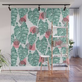 Watercolor tropical leaves abstract Wall Mural