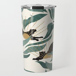 Tropical Landscape with Panthers and Sun / Green Travel Mug