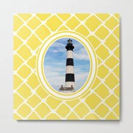 Bodie Island Lighthouse-North Carolina -With Nautical Netting Background in Illuminating Yellow Metal Print