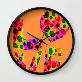 Orange love circles Wall Clock