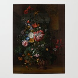 Rachel Ruysch - Roses, Convolvulus, Poppies and other flowers in an Urn on a Stone Ledge (1680) Poster