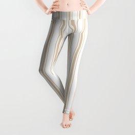 Almond Baby Camel Mattress Ticking Wide Striped Pattern - Fall Fashion 2018 Leggings