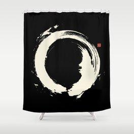 Black Enso / Japanese Zen Circle Shower Curtain