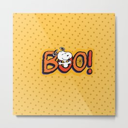 Snoopy BOO yellow pattern dot Metal Print