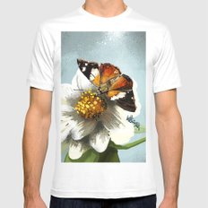 Butterfly on flower 12 White Mens Fitted Tee MEDIUM