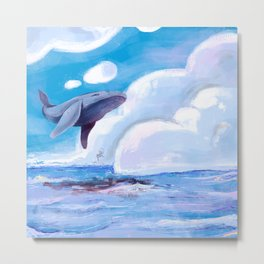 Fly magic whale, fly! Metal Print