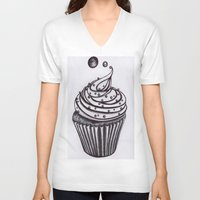 cupcake V-neck T-shirts featuring Cupcake by AGalaxyWithin