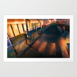 Across the Grooves: Bordeaux by Night Art Print