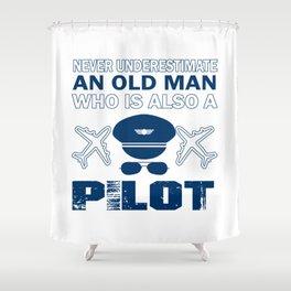 Old Man - A Pilot Shower Curtain