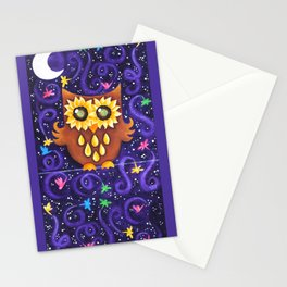 Sunflower Eyed Owl with Dragonflies Stationery Cards
