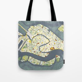 Venice city map antique Tote Bag