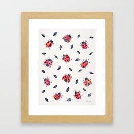 Lucky Ladybugs & Black Leaves Framed Art Print