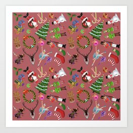 The Elements of Christmas (Pattern) (Red) Art Print