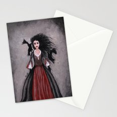 Little Black Haired Girl + Crows Stationery Cards