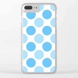 Blue polka dots Clear iPhone Case
