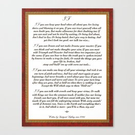 Inspirational Typography Wall Art, IF quote, written in 1895 by Rudyard Kipling Canvas Print