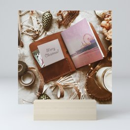 Merry Christmas Santa Monica Pier - Leather Travel Journal Photo Mini Art Print