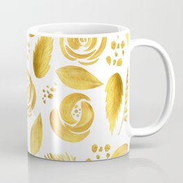 Hand painted faux gold white elegant floral pattern Coffee Mug