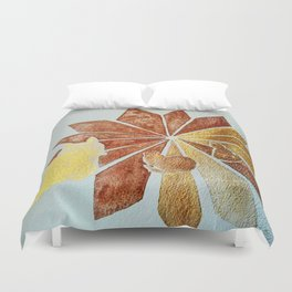 Tres Kitties SunGold n Bronze watercolour by CheyAnne Sexton Duvet Cover