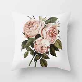 Three English Roses Throw Pillow