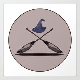Two magic brooms Art Print